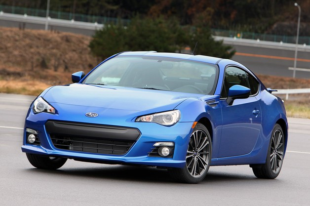 2013 Subaru BRZ - blue - front three-quarter view