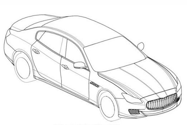 2014 Maserati Quattroporte Patent Drawing - front three-quarter overhead view