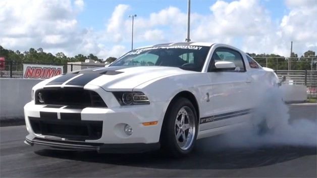 9-Second Ford GT500 burnout from Lethal Performance (screencap)