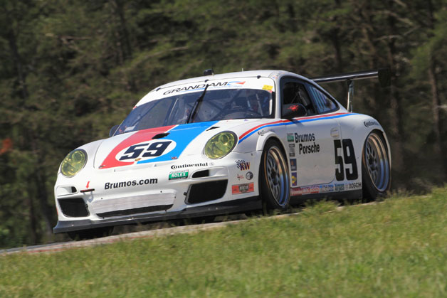 Brumos Porsche 911 GT3 Cup race car - front three-quarter view, in motion
