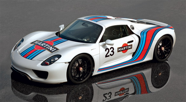 Porsche 918 Spyder in Martini racing livery - overhead front three-quarter shot