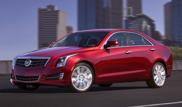 2013 Cadillac ATS - maroon - front three-quarter view