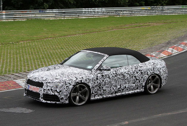 2013 Audi RS5 Cabriolet spotted testing in Germany - front three-quarter view