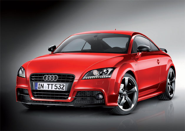 Audi TT S Line competition package - front three-quarter static view, red