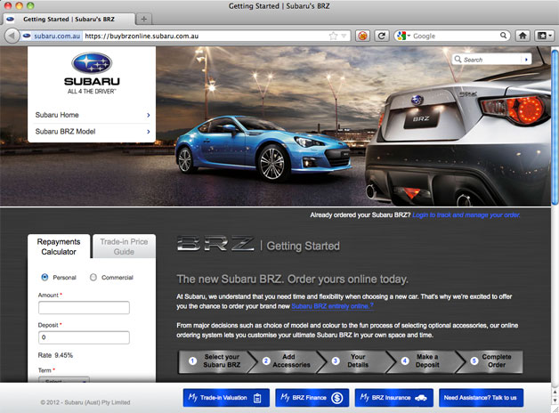 2013 Subaru BRZ sells out in Australia - website reservation form