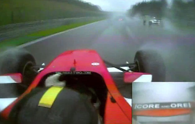 Din Zamparelli racing his Formula 2 car in the wet