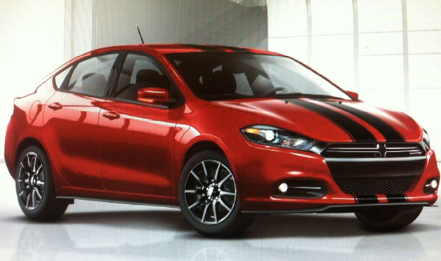 Dodge Dart with graphics package - twin black stripes on red car