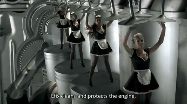 French maids cleaning your engine thanks to Rompetrol commercial