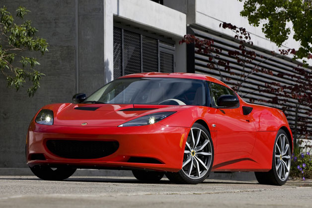 2012 Lotus Evora - red, front three-quarter static view