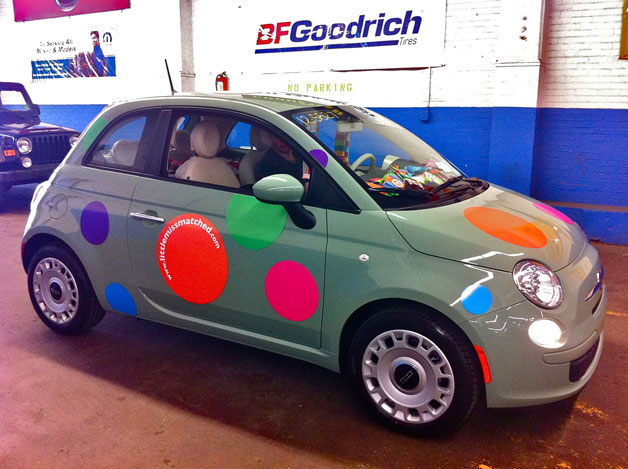 LittleMissMatched Fiat 500 - green with polka dots - front three-quarter view