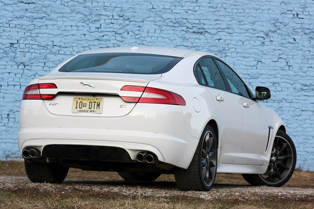 2012 Jaguar XFR rear 3/4 view