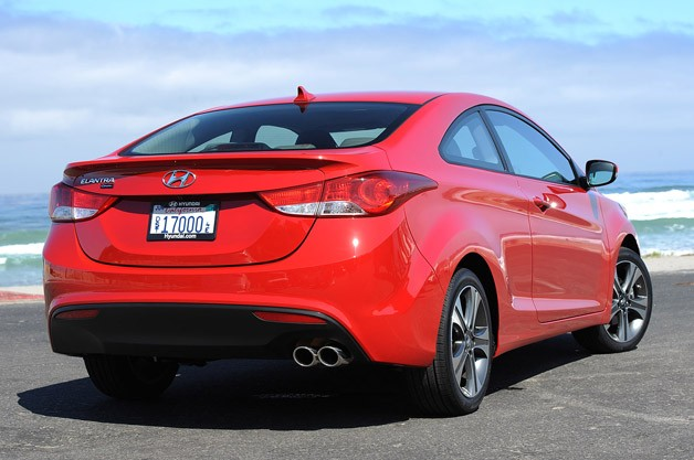 2013 Hyundai Elantra Coupe rear 3/4 view