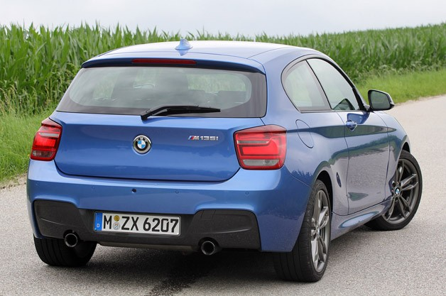 2012 BMW M135i rear 3/4 view