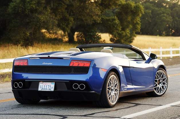 2012 Lamborghini Gallardo LP 550-2 Spyder rear 3/4 view