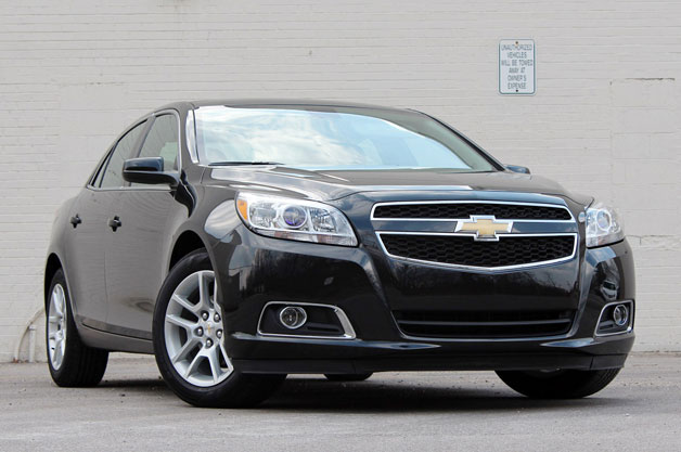 2013 Chevrolet Malibu Eco - front three-quarter view, black