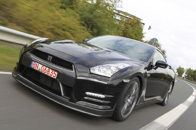 2013 Nissan GT-R - black - dynamic front three-quarter view