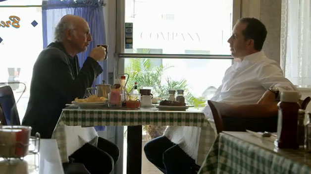 Jerry Seinfeld and Larry David having coffee