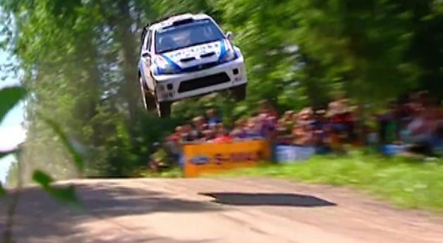High-flying first-gen Ford Focus in WRC event