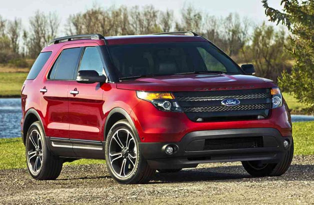 2013 Ford Explorer Sport - front three-quarter view, maroon