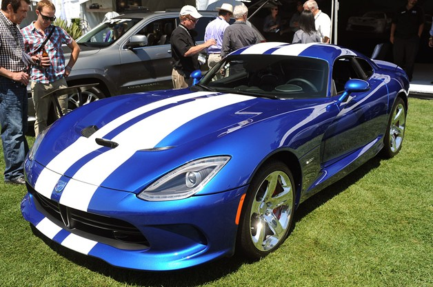 2013 SRT Viper Launch Edition - blue with white stripes - sitting on grass