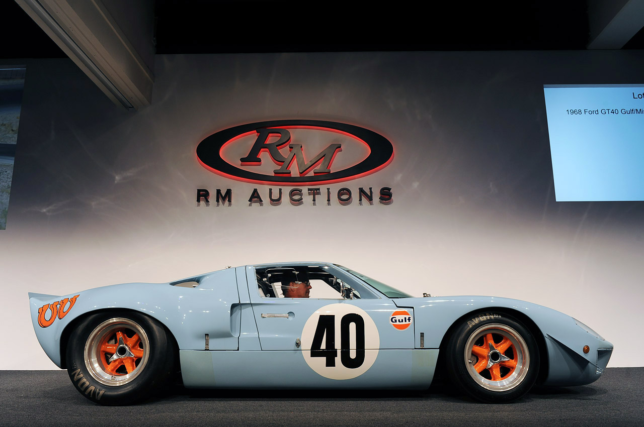 1968 ford gt40 gulf  mirage sets auction record at  11