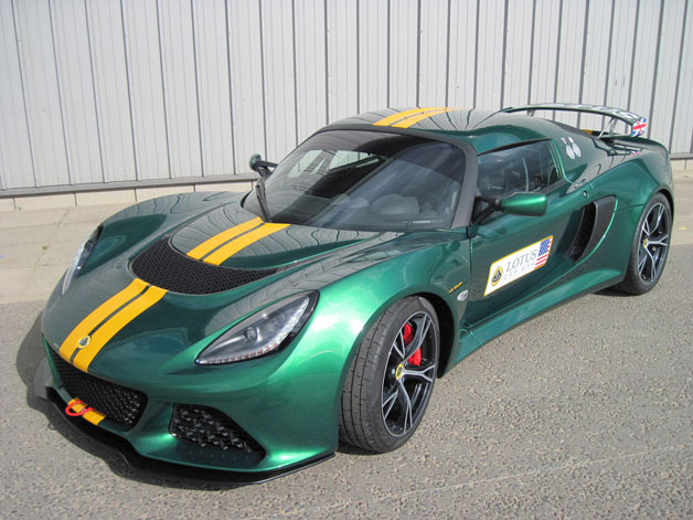 Lotus Exige Cup V6 - front three-quarter overhead view - BRG with yellow stripes