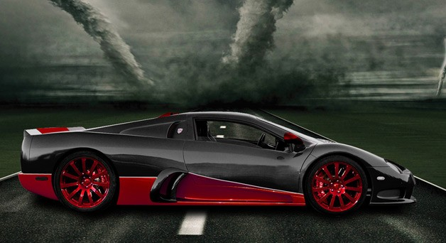 2013 SSC Ultimate Aero XT - profile view amidst twisters