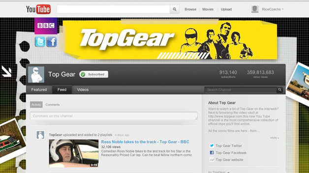 Top Gear UK - YouTube page