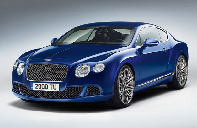 2013 Bentley Continental GT Speed - front three-quarter studio view, blue
