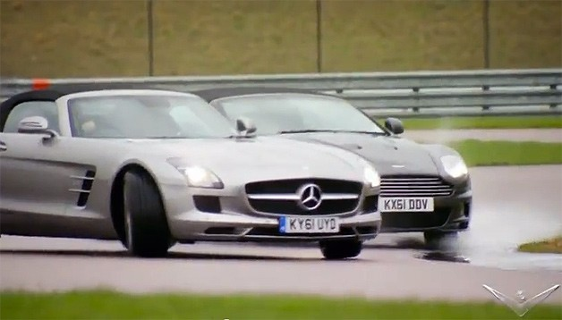 Mercedes-Benz powersliding in tandem with Aston Martin in the wet - Fifth Gear screencap