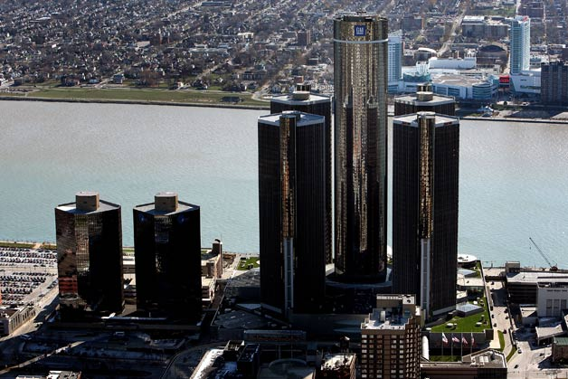 General Motors' Rennaissance Center headquarters in Detroit  - aerial view