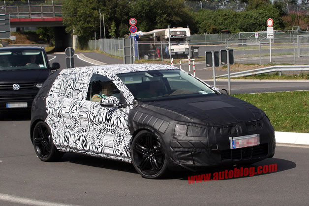 2014 Volkswagen Golf R prototype - front three-quarter spy shot
