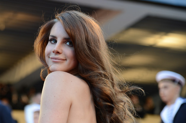 Singer-songwriter Lana Del Rey looks over her shoulder