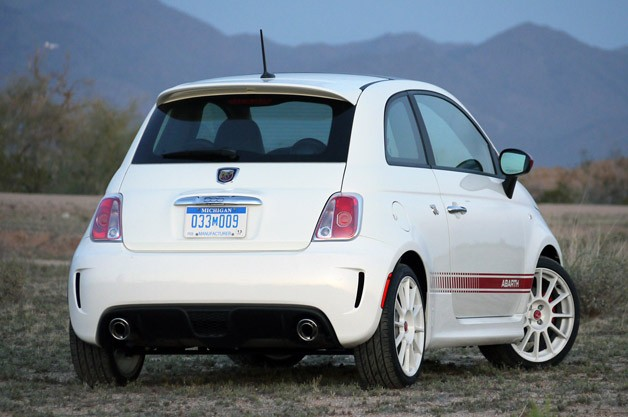 2012 Fiat 500 Abarth rear 3/4 view