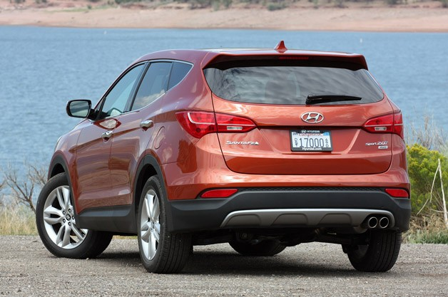 2013 Hyundai Santa Fe Sport rear 3/4 view