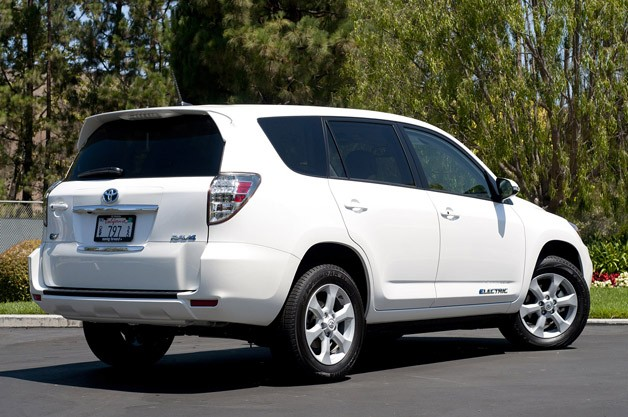 2013 Toyota RAV4 EV rear 3/4 view