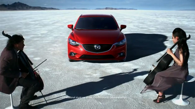 2014 Mazda6 with cellists on a salt flat