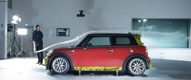 minigpwindtunnel Mini shows Cooper Works GP goes for a smoke, cheats the wind