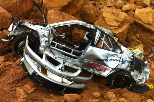 Jeremy Foley's crashed Mitsubishi Evo at Pikes Peak