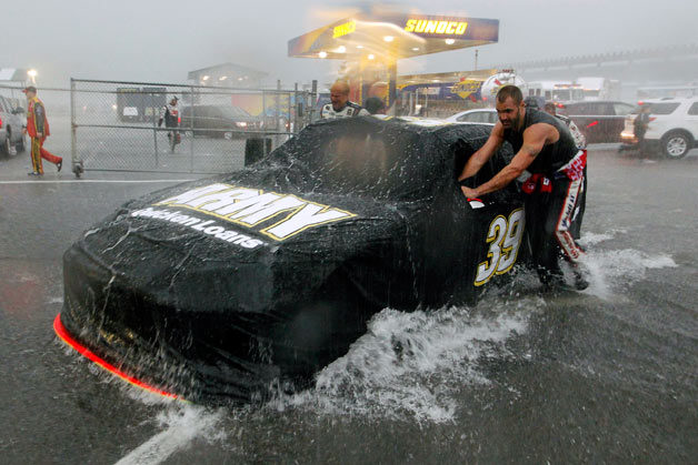 Pushing Ryan Newman's NASCAR racer in the Pocono pits during killer storm
