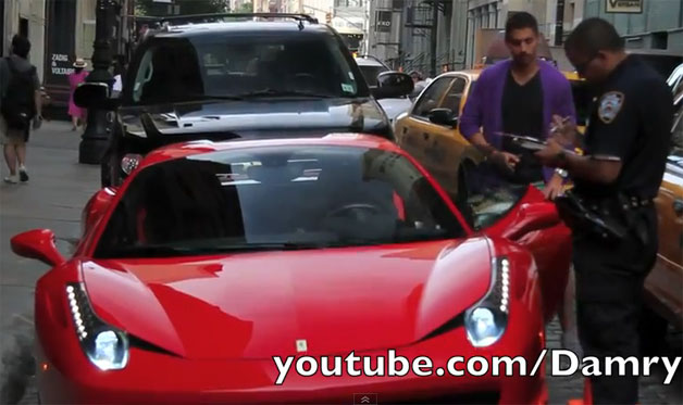 Ferrari driver getting ticket from NYC cop
