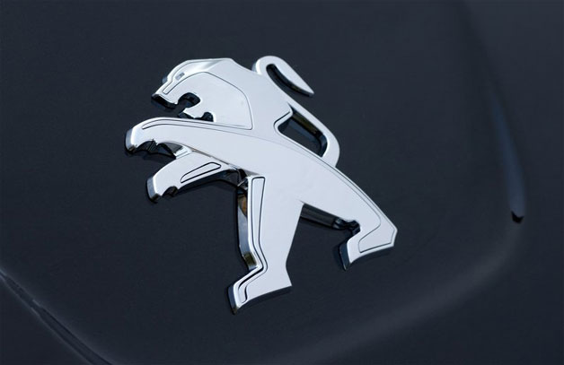 Peugeot lion emblem on sheetmetal