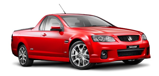 2012 Holden Redline Ute - red, front three-quarter view