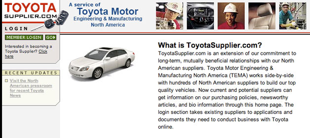 ToyotaSupplier.com home screen