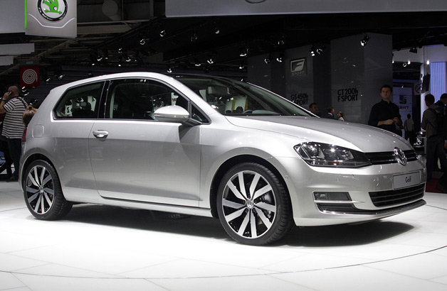 New Volkswagen Golf live at 2012 Paris Motor Show reveal - silver - front three-quarter view