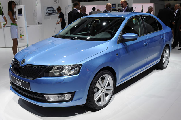 2013 Skoda Rapid - front three-quarter view - live from 2012 Paris Motor Show