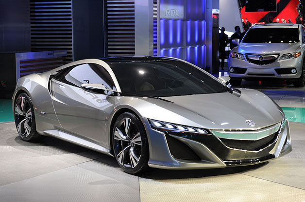 2012 Acura NSX Concept - front three-quarter view, on show stand in Detroit