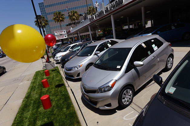 Toyota dealership with balloon