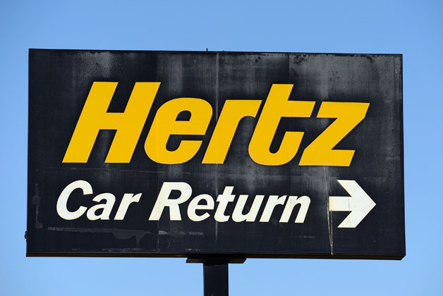 Hertz car rental return sign
