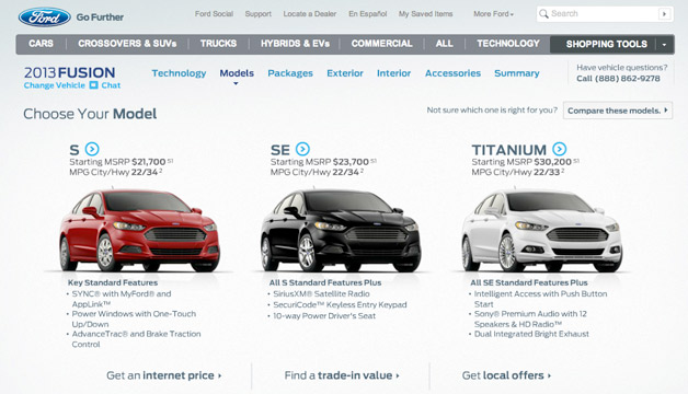 2013 Ford Fusion configurator - screencap
